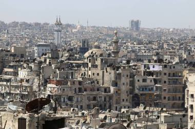 A general view shows government-controlled areas of Aleppo as seen from rebel-held part of the city, Syria